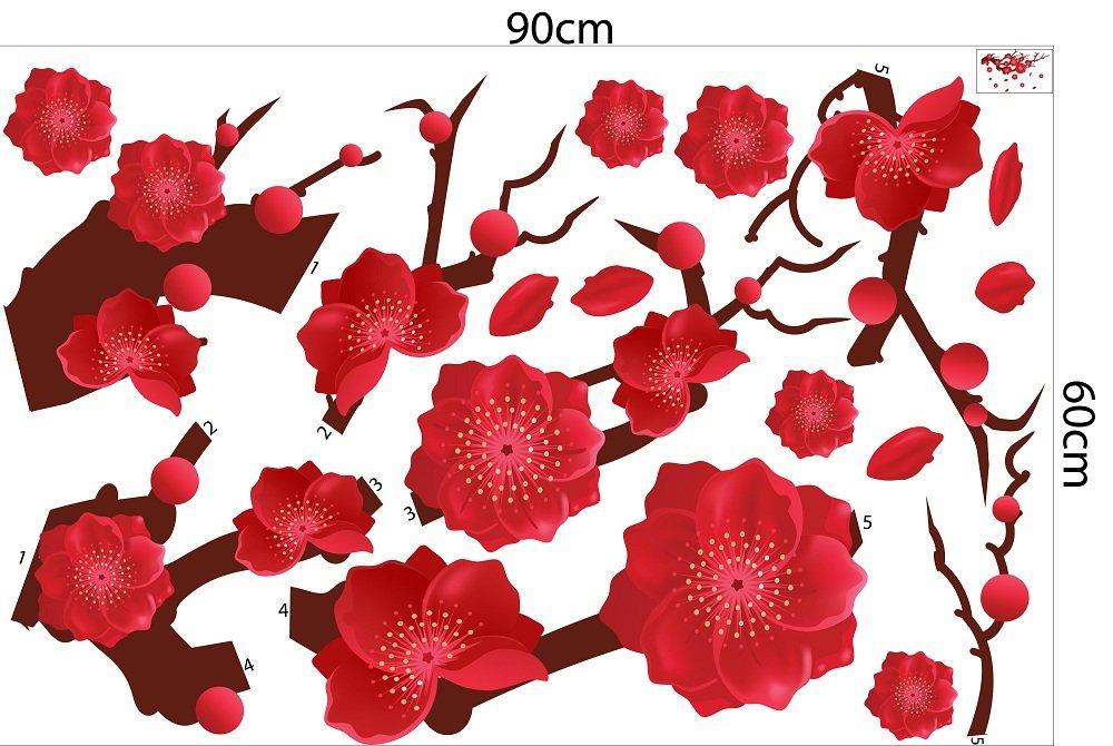 Decal trang trí tết hoa đào hồng khoe sắc đón xuân sang