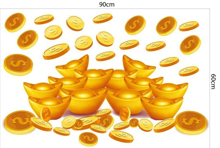 Decal trang trí tết thỏi vàng tài lộc 2