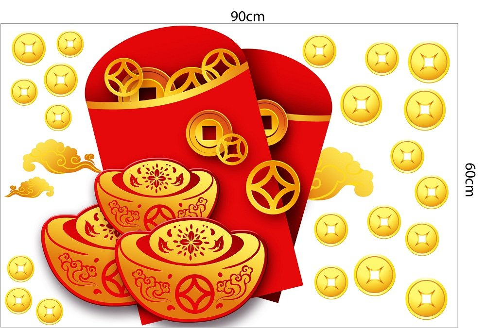 Decal trang trí tết túi tiền vàng tài lộc