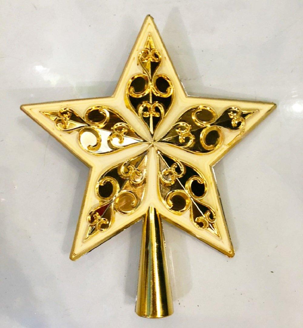 Ngôi sao đỉnh vàng trang trí cây thông noel