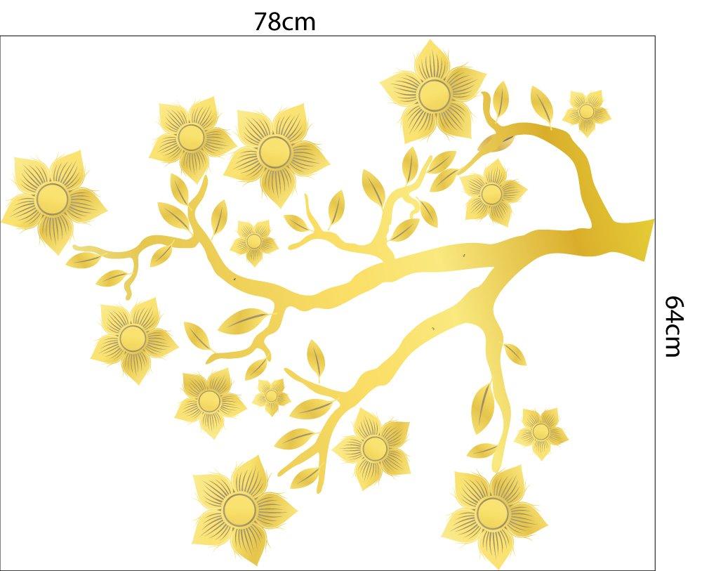 Decal trang trí tết họa tiết cành mai đào rực rỡ