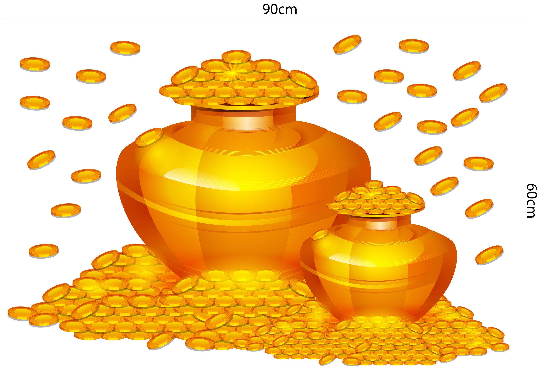 Decal trang trí tết hũ vàng sung túc