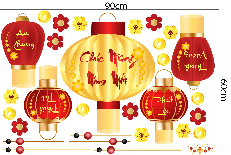 Decal trang trí tết lồng đèn chúc mừng năm mới