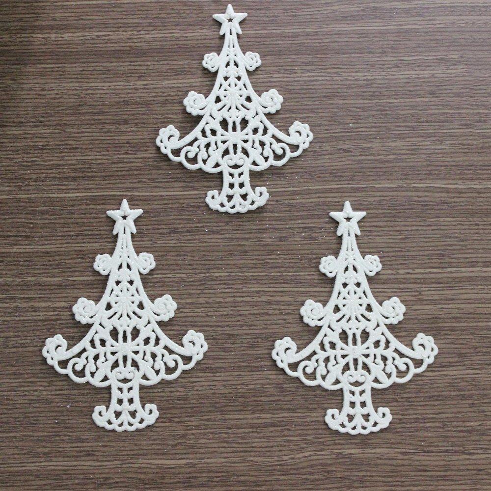 Bộ 3 cây thông nhựa trắng treo trang trí noel