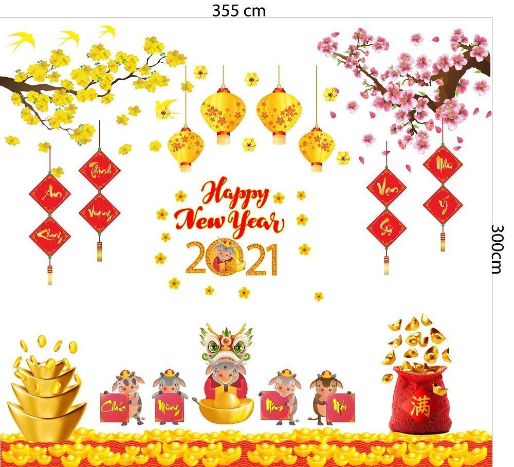 Combo Decal trang trí tết Tân Sửu 2021 mẫu 5