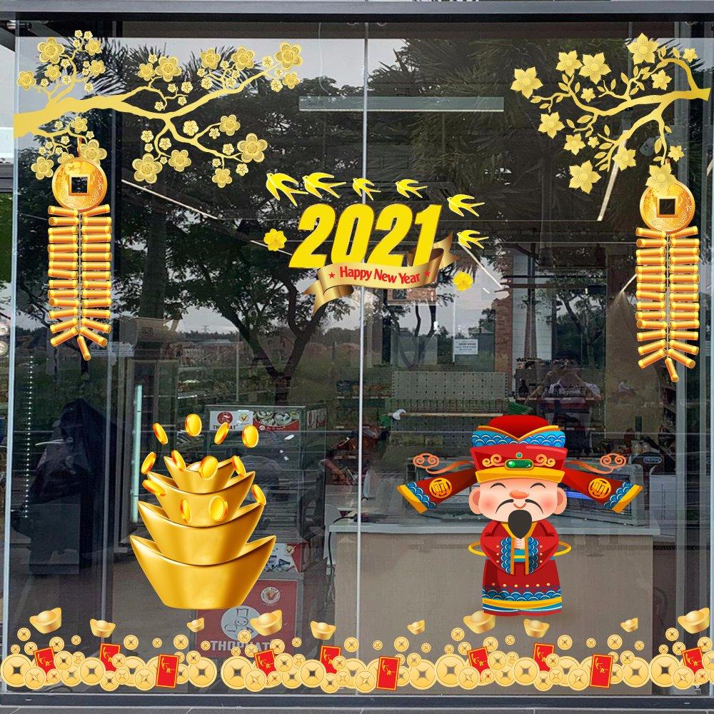 Combo Decal Trang Trí Tết Xuân Tân Sửu 2021 Mẫu 11