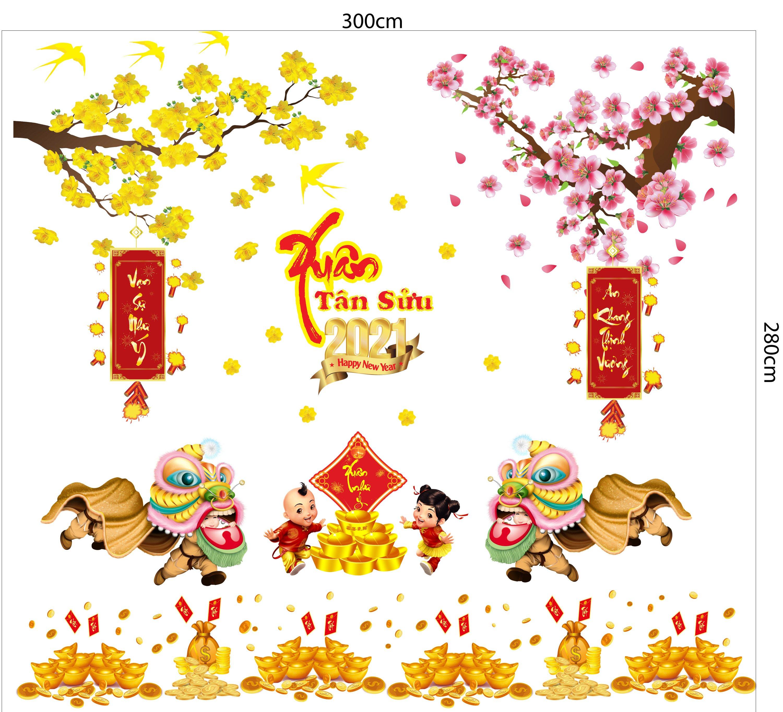 Combo Decal Trang Trí Tết Xuân Tân Sửu 2021 Mẫu 14