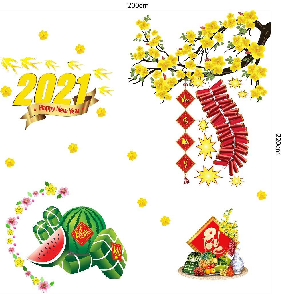 Combo Decal Trang Trí Tết Xuân Tân Sửu 2021 Mẫu 9