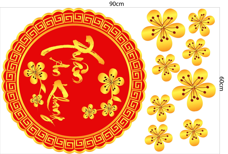 Decal trang trí tết Xuân an khang hoa mai vàng