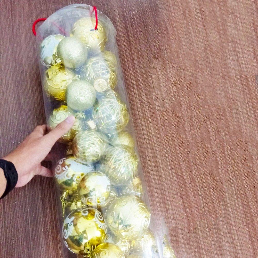 Hộp quả châu vàng cao cấp trang trí noel