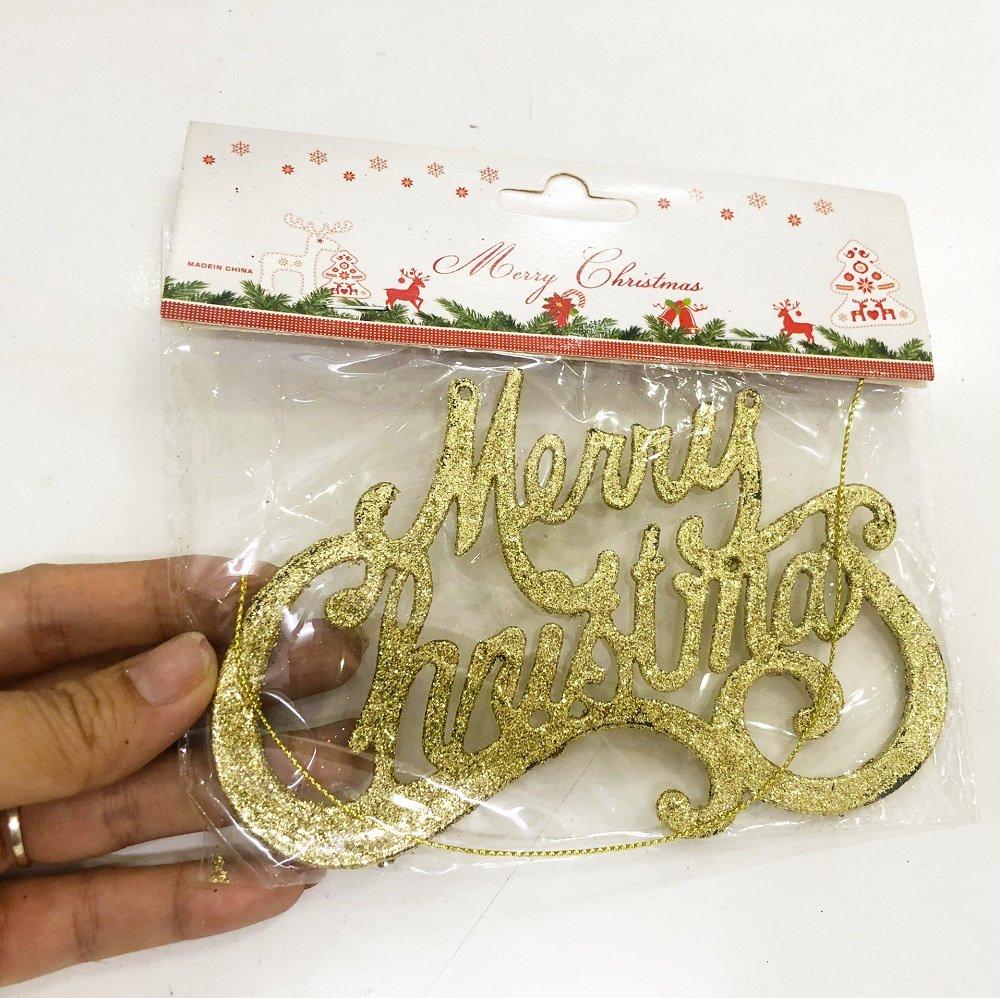 Bảng treo merry christmas phủ kim tuyến trang trí noel (2)
