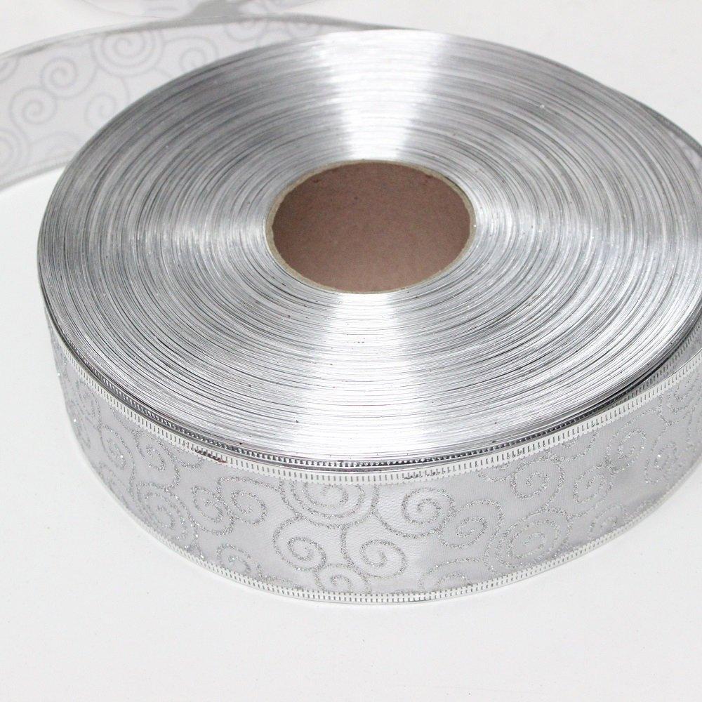 Cuộn dây ruy băng bạc họa tiết 10m