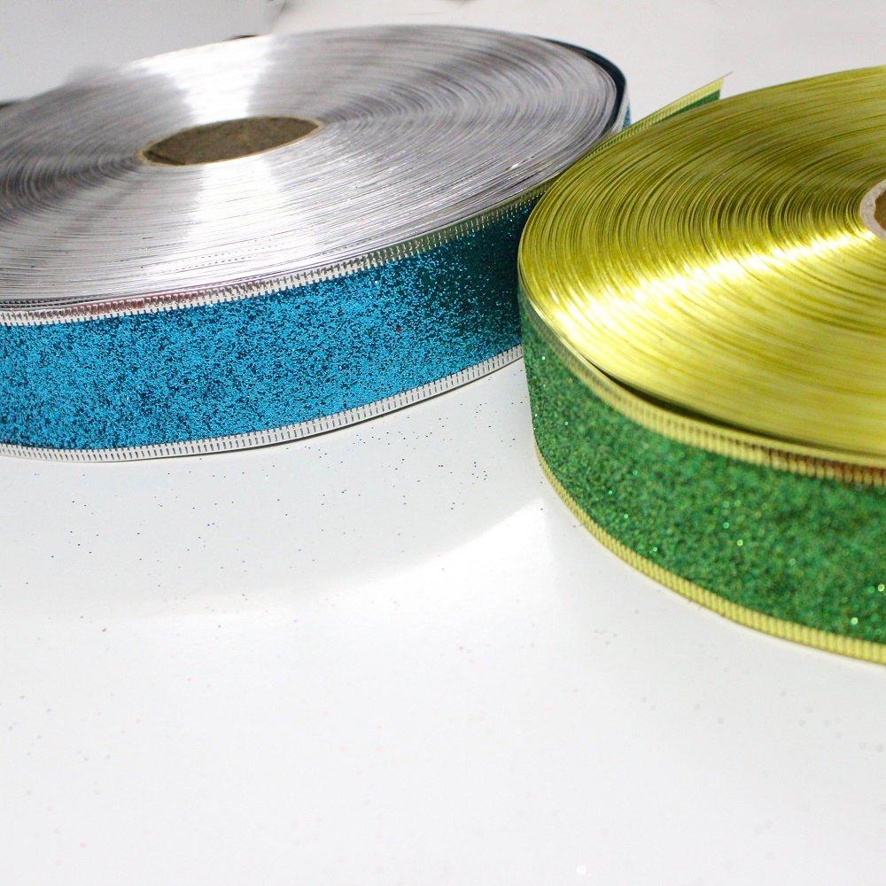 Cuộn dây ruy băng không họa tiết xanh dương 10m
