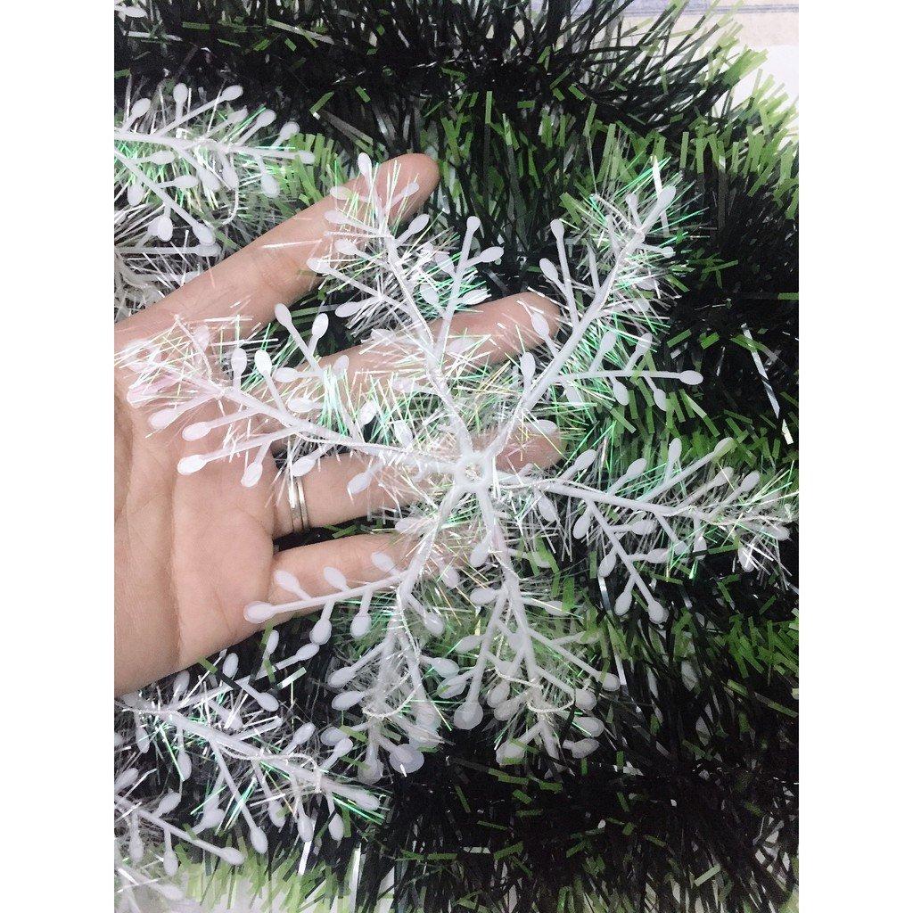 Combo 15 bông tuyết kim tuyến size 11cm trang trí noel