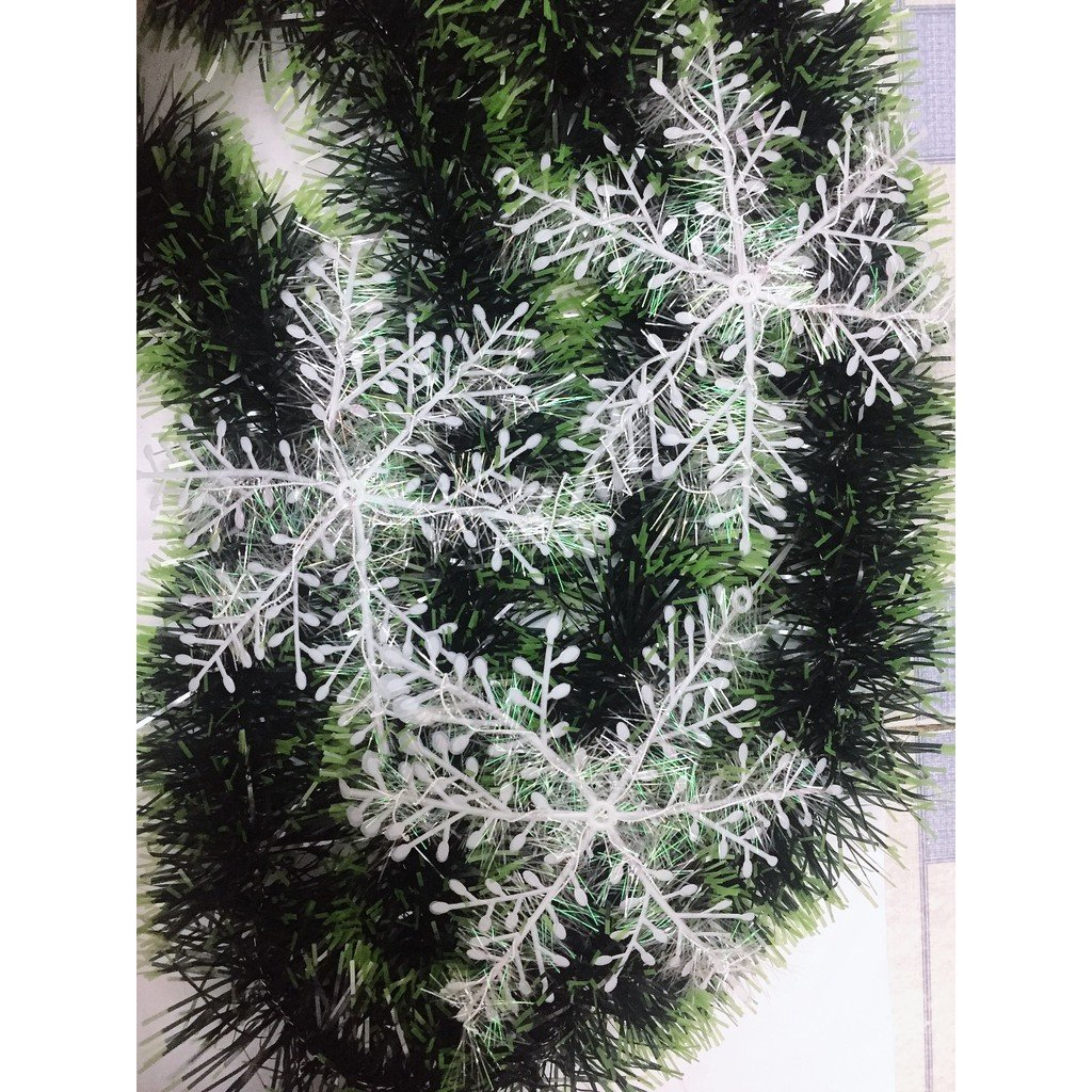 Combo 15 bông tuyết kim tuyến size 15cm trang trí noel