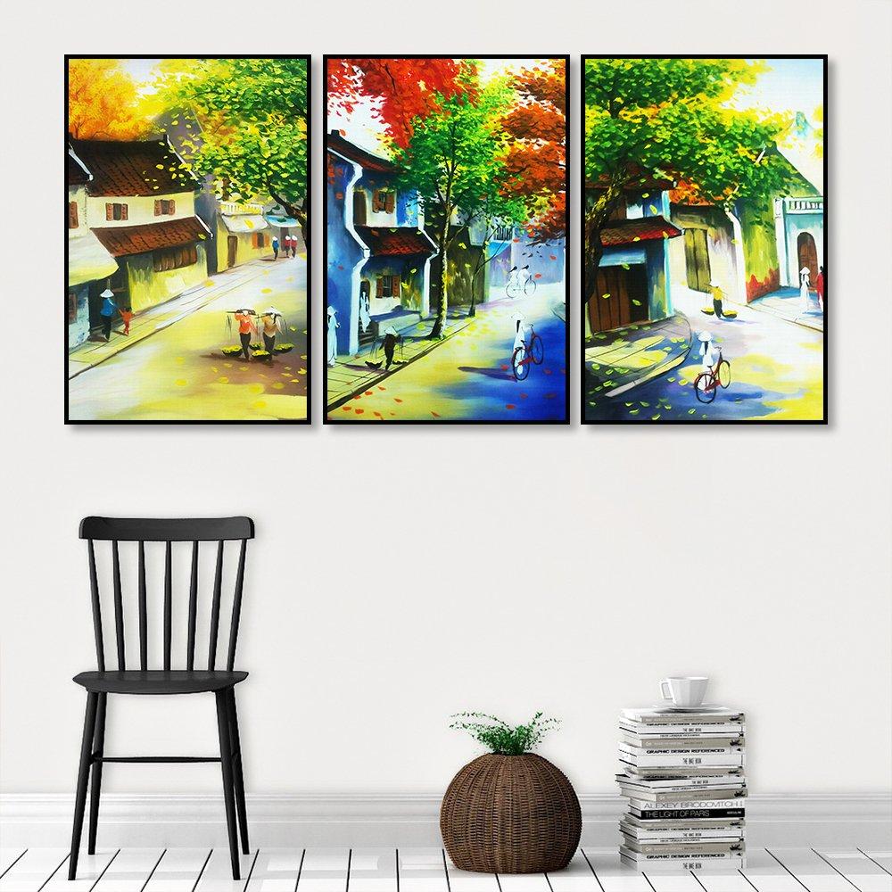 Tranh treo tường phong cách sơn dầu phong cảnh phố cổ