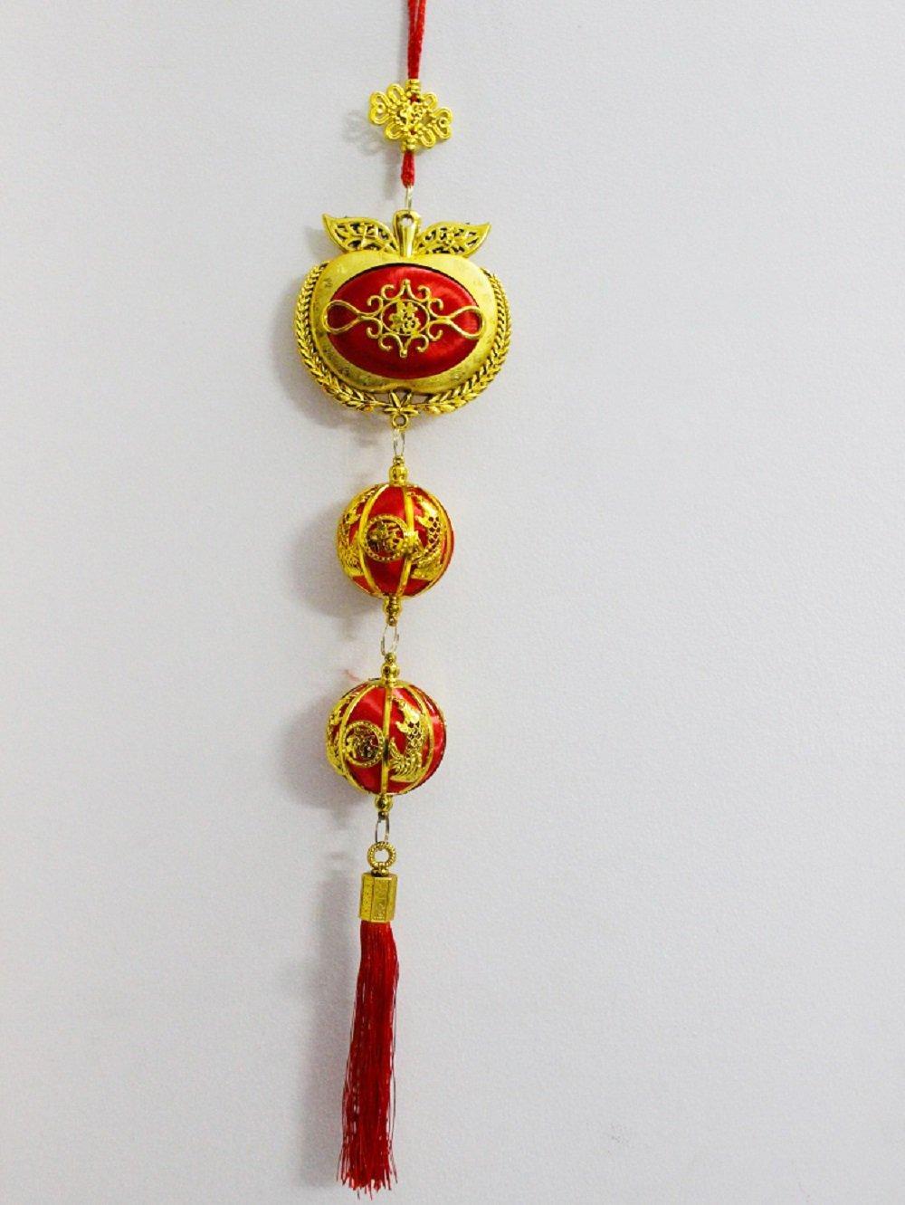 Lộc treo táo vàng kèm châu đỏ trang trí tết