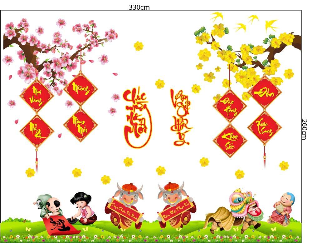 Combo decal trang trí tết mai vàng nở rộ mừng năm mới đào hồng khoe sắc đón xuân sang
