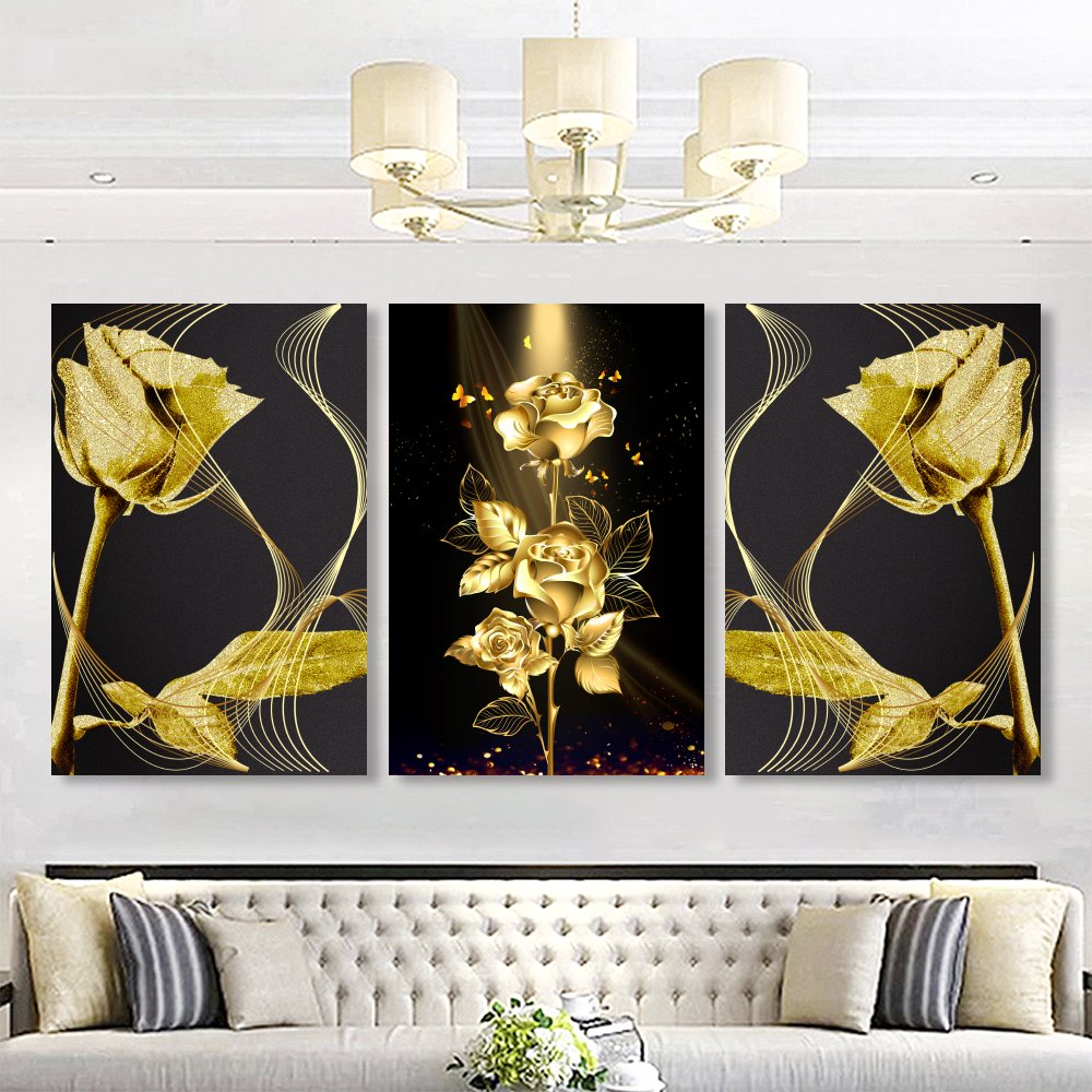 Tranh treo tường hoa hồng vàng 2