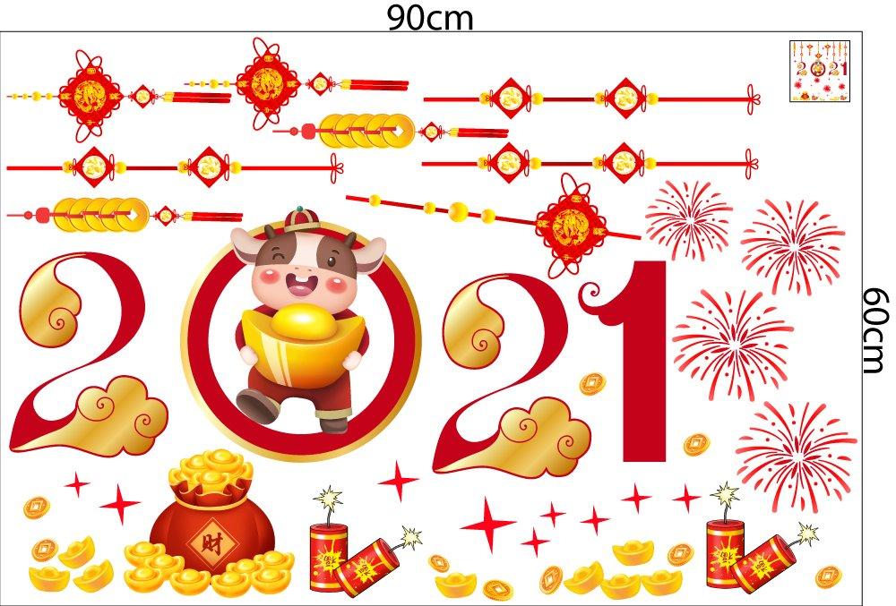 Decal trang trí tết Tân Sửu Pháo Hoa Đỏ 2021