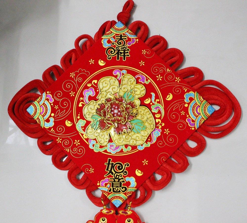 Liễn treo 2 mặt chữ phúc và hoa tài lộc trang trí tết