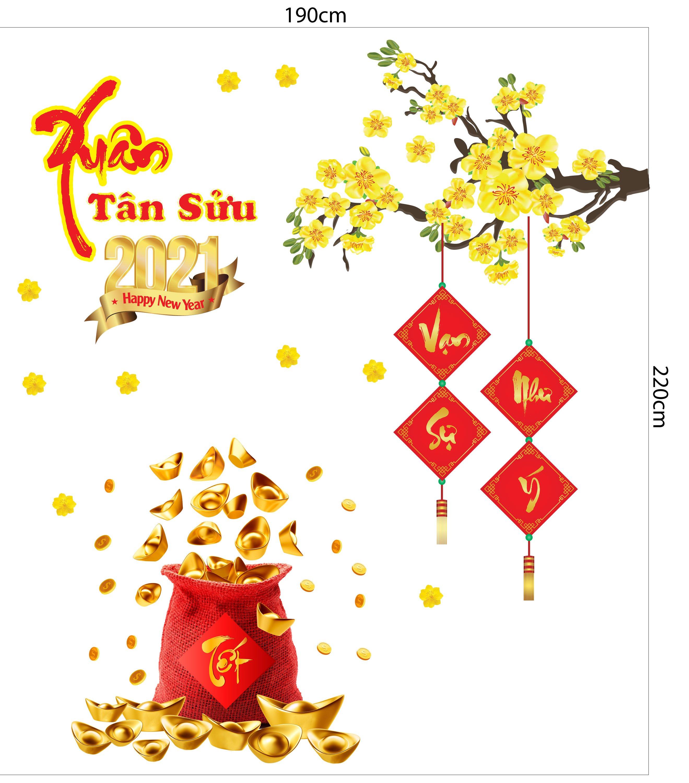 Combo Decal Trang Trí Tết Xuân Tân Sửu 2021 Mẫu 8