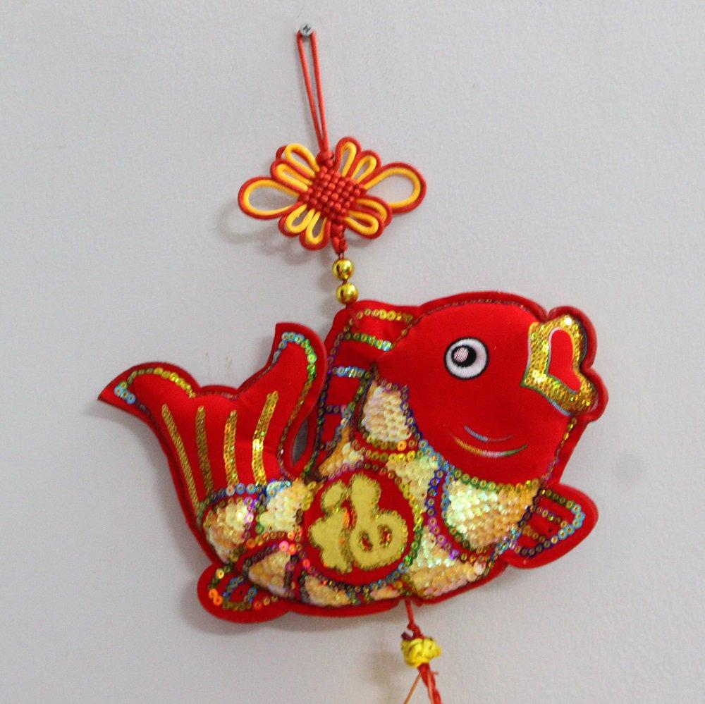 Cá chép vàng và dây pháo 2 treo trang trí tết