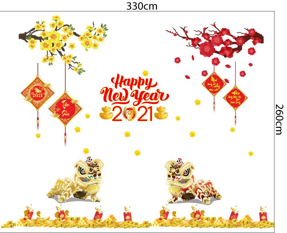 Combo Decal Trang Trí Tết Xuân Tân Sửu 2021 Mẫu 16