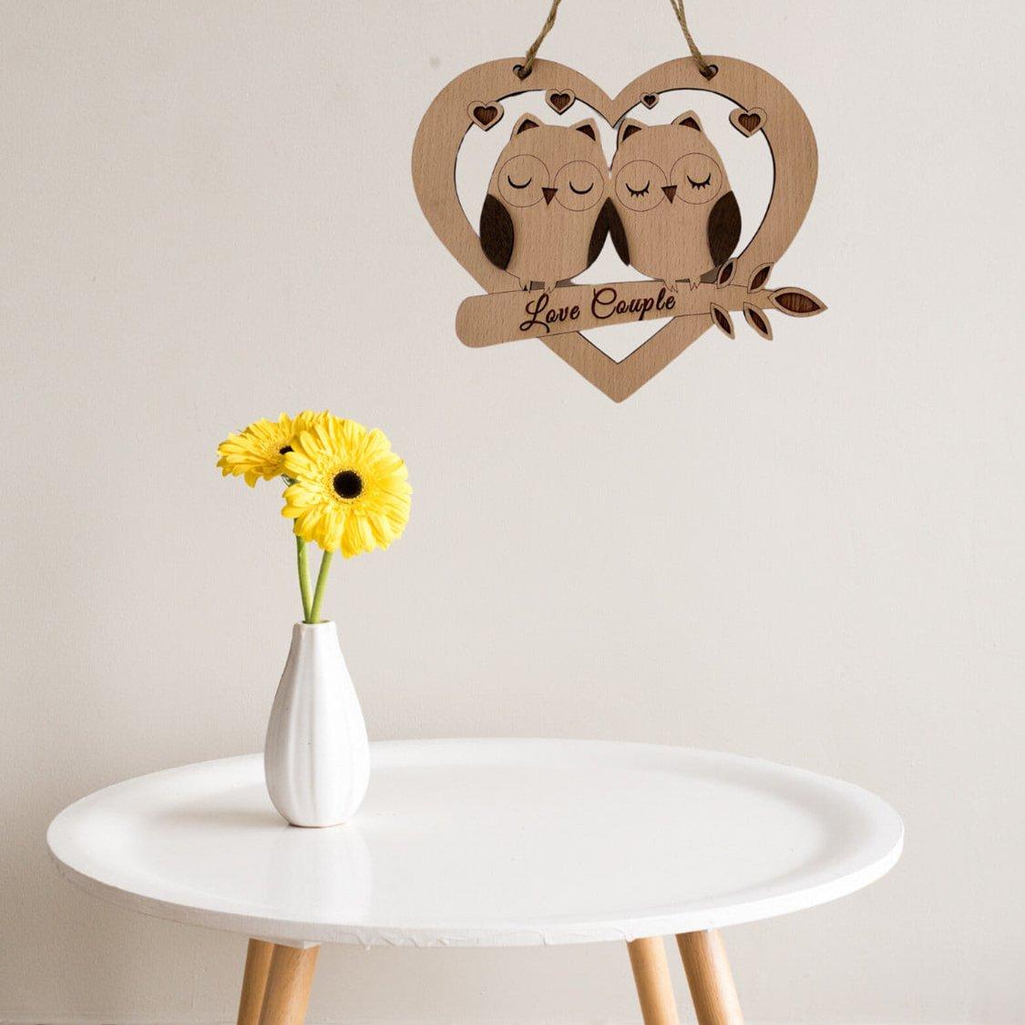 Bảng Gỗ Handmade Treo Tường Hình trái tim Love Couple