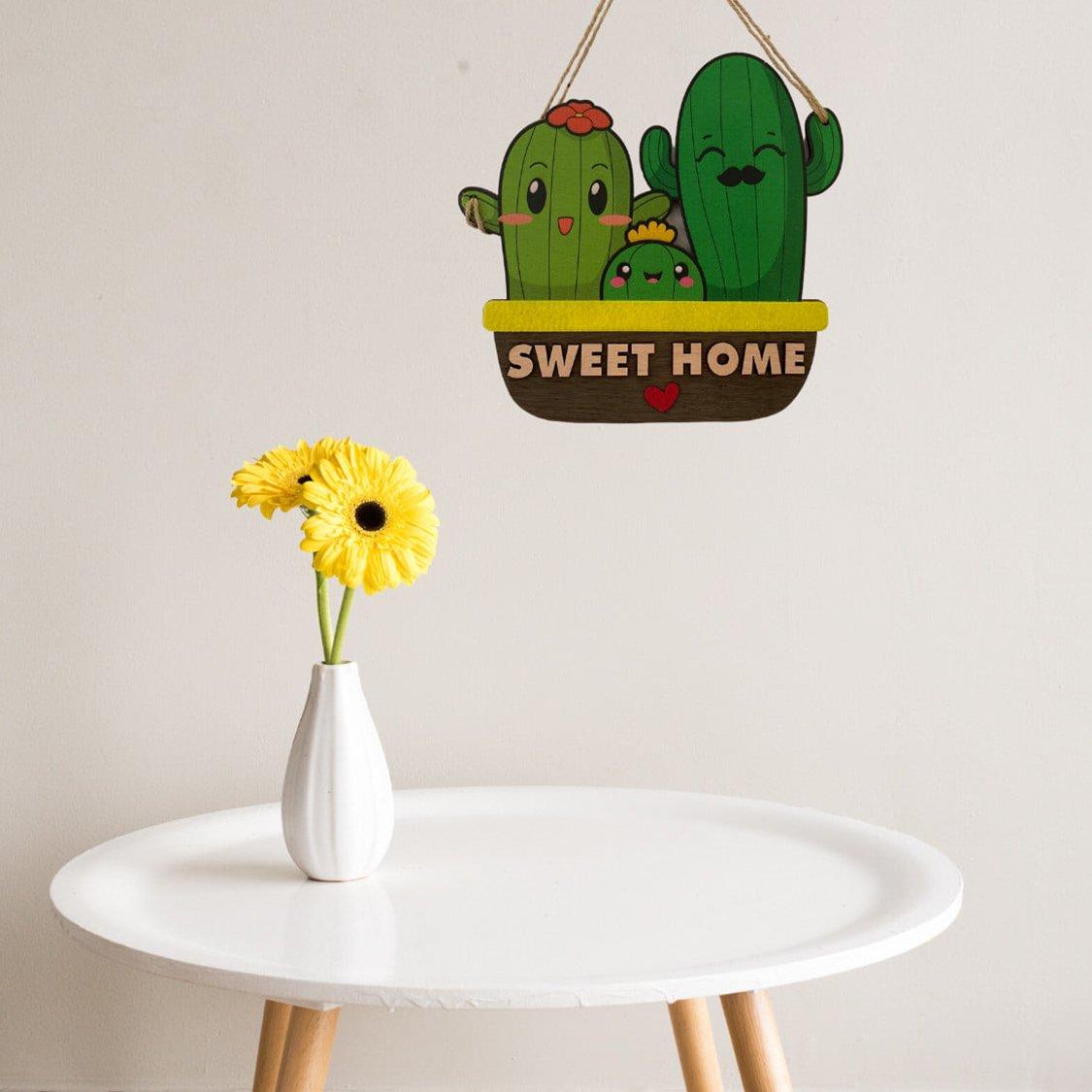 Bảng treo handmade xương rồng Sweet Home