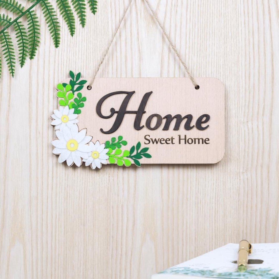 Bảng treo handmade trang trí Hoa lá Home Sweet home