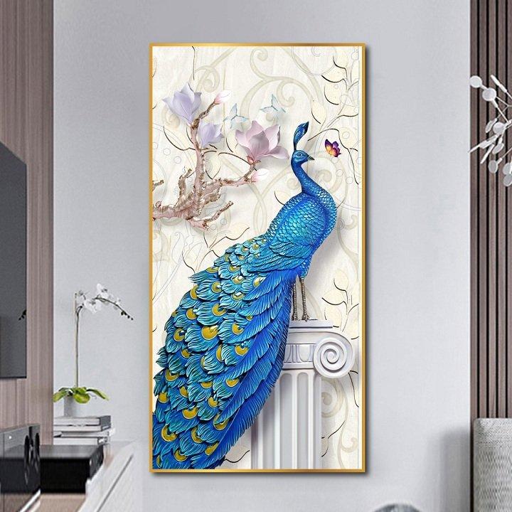 Tranh treo tường chim công xanh và hoa sứ
