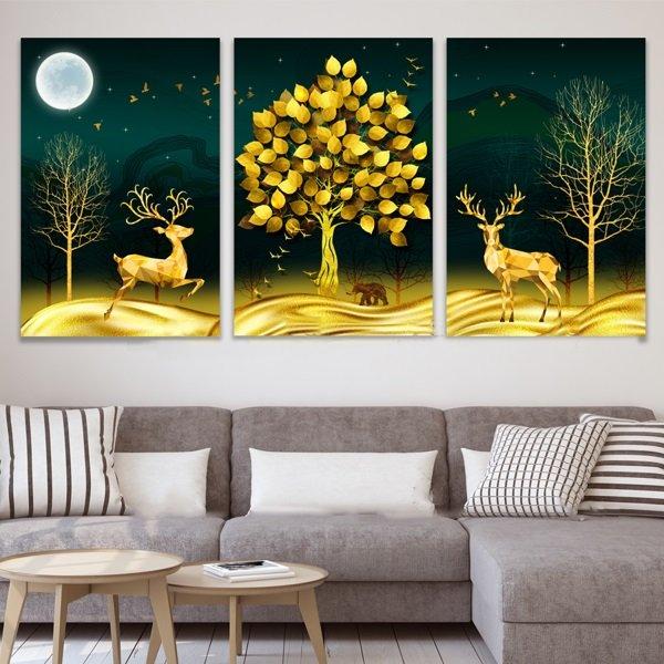 Tranh treo tường nai vàng dưới cây vàng nghệ thuật