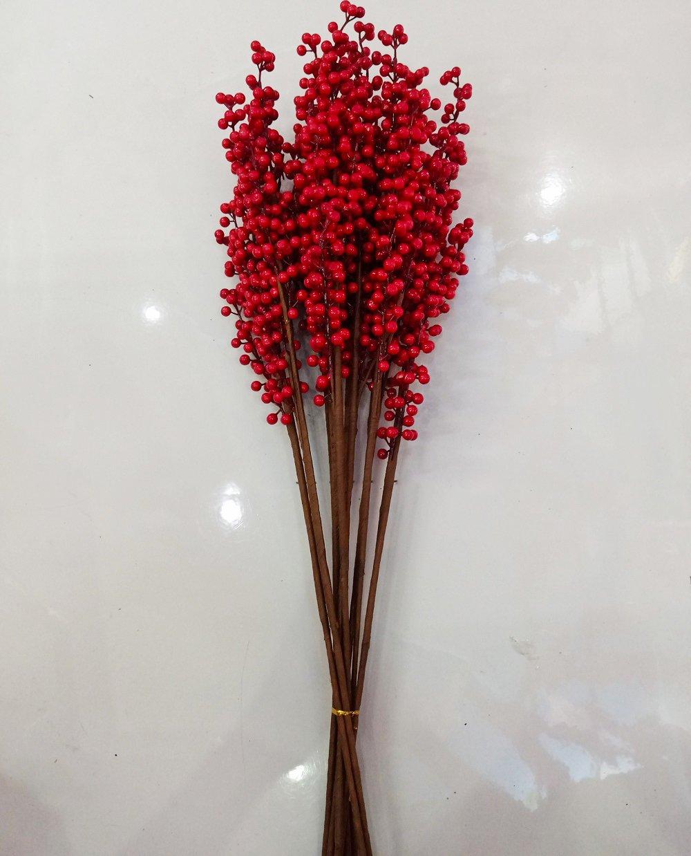 Cành Cherry đỏ không lá trang trí tết 70cm