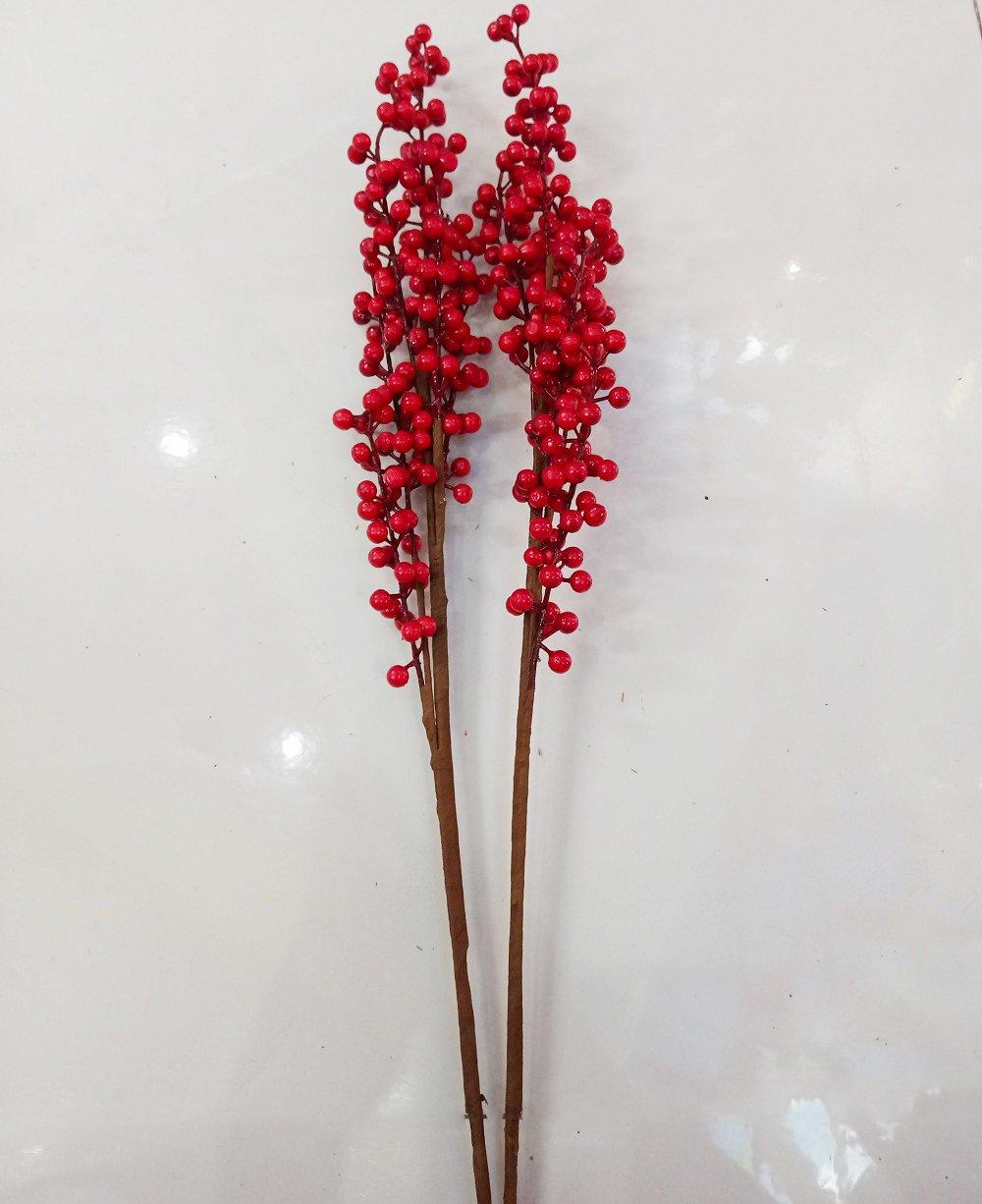 Cành đào đỏ không lá trang trí tết 70cm