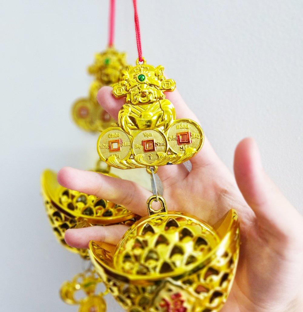 Lộc treo Thỏi vàng lưới và thần tài trang trí tết (2 dây)