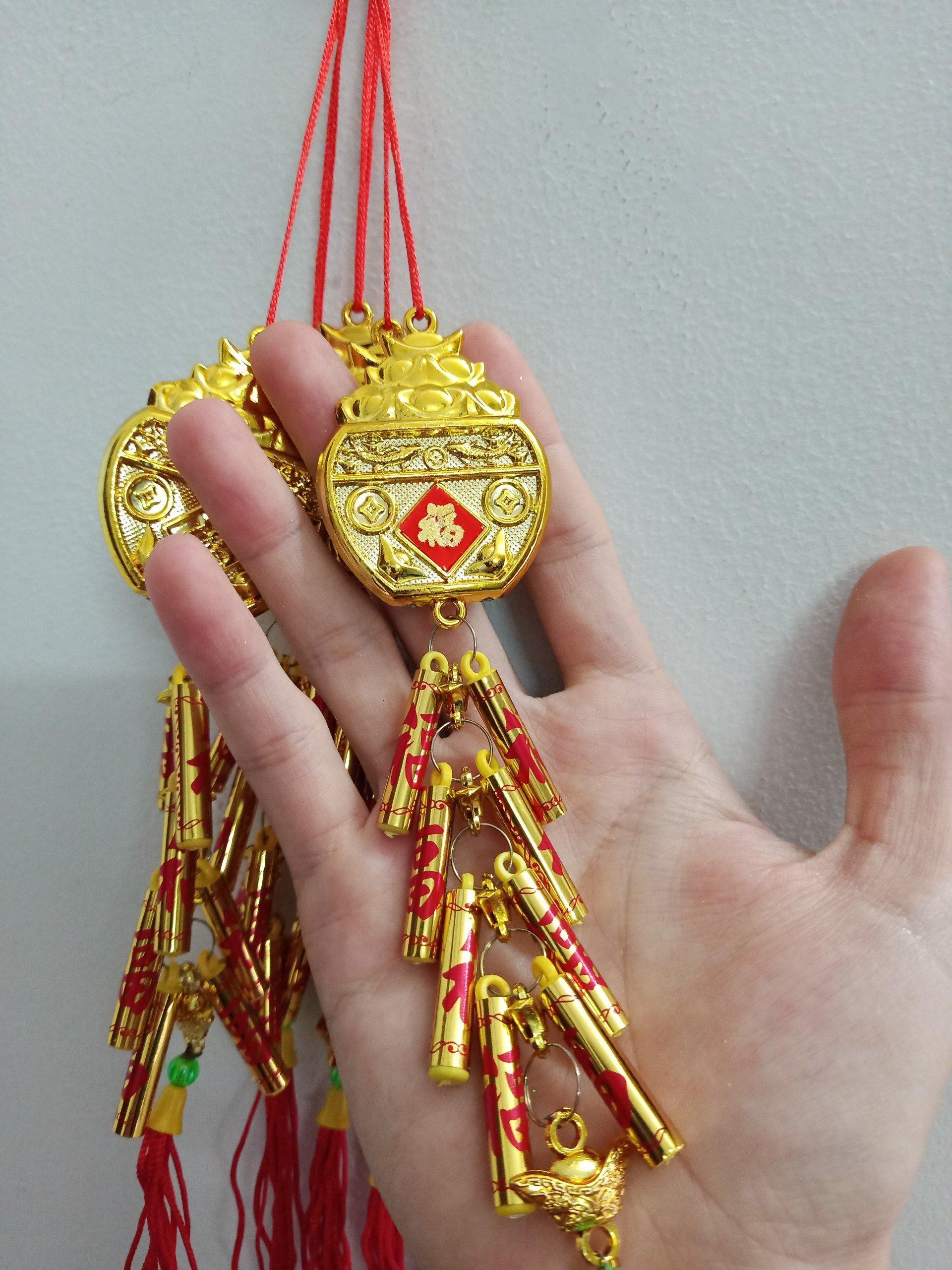 Lộc Treo Chậu Vàng Phú Quý Và Pháo Chữ Phúc 02