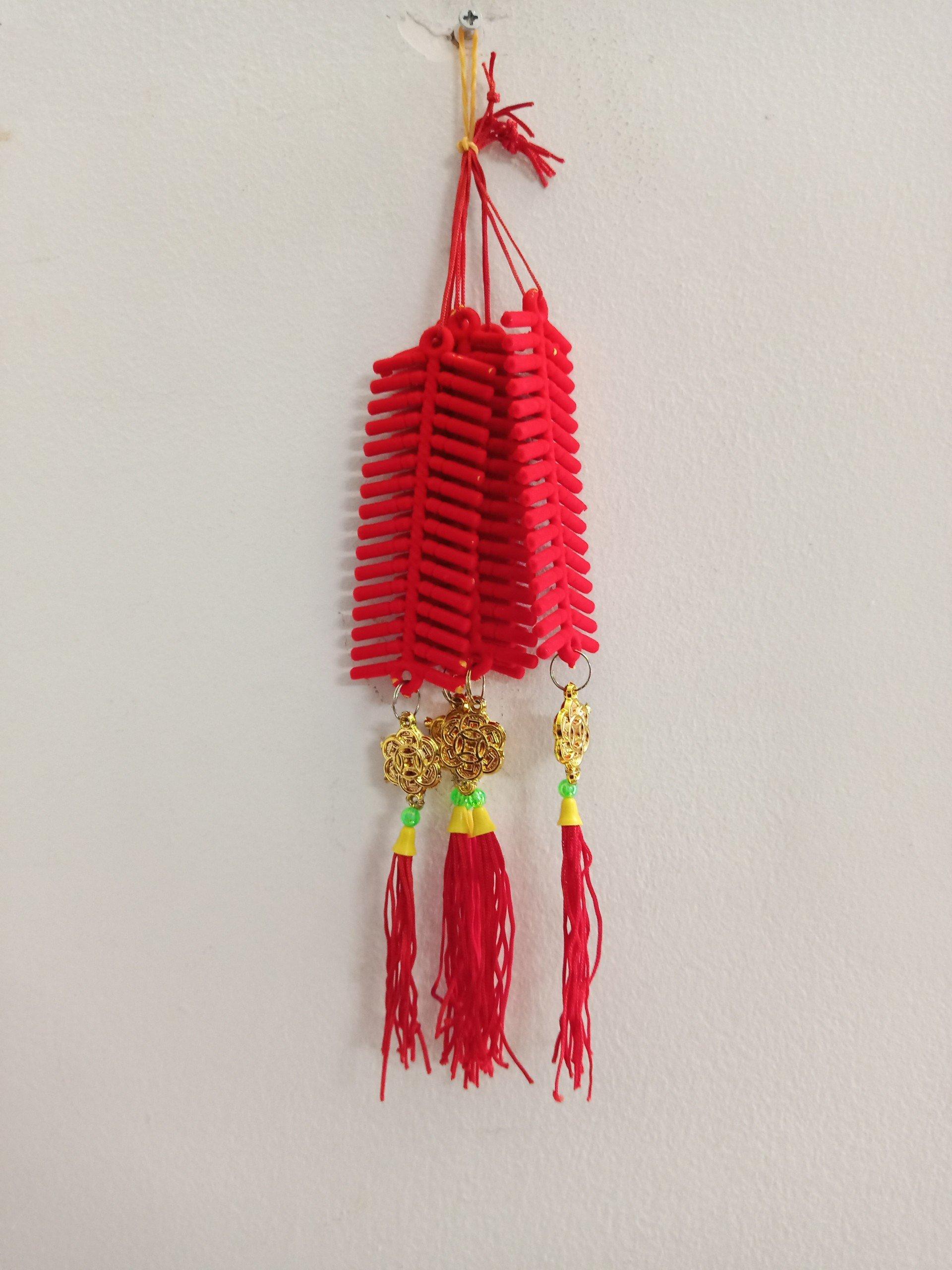 Lộc treo trang trí tết Pháo nhung đỏ và đồng tiền