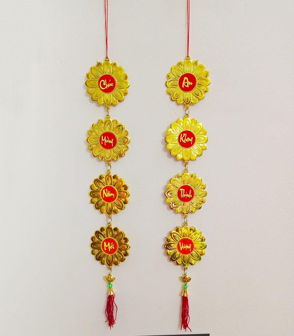 Lộc treo tết Hoa Cúc vàng Chúc mừng năm mới-An khang thịnh vượng