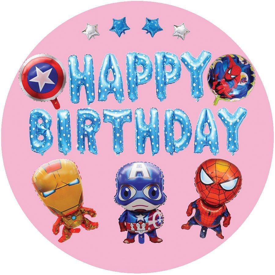 Set Bong Bóng Trang Trí Sinh Nhật Happy Birthday Captain America và đồng bọn