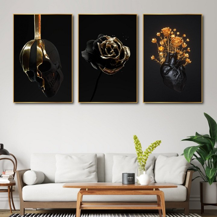 Tranh treo tường hoa hồng đen nghệ thuật