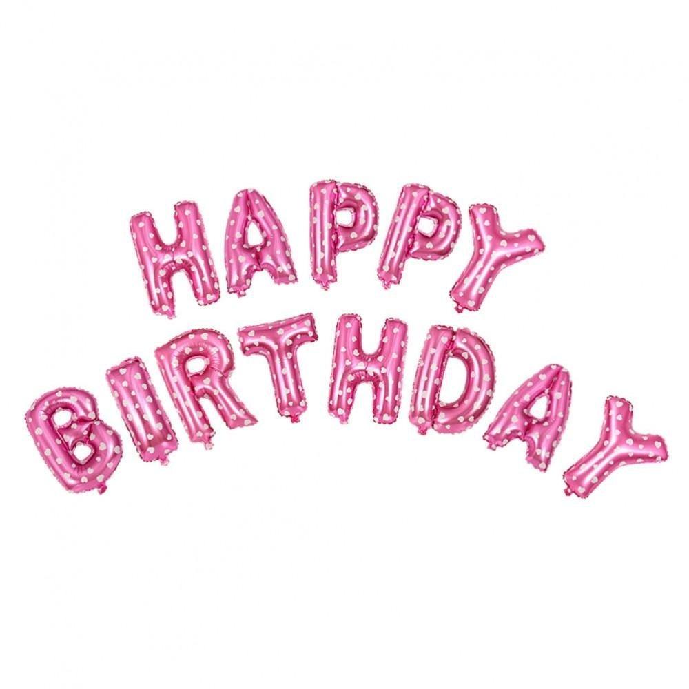 Bóng Chữ Happy Birthday Trang Trí Sinh Nhật Đỏ họa tiết trái tim
