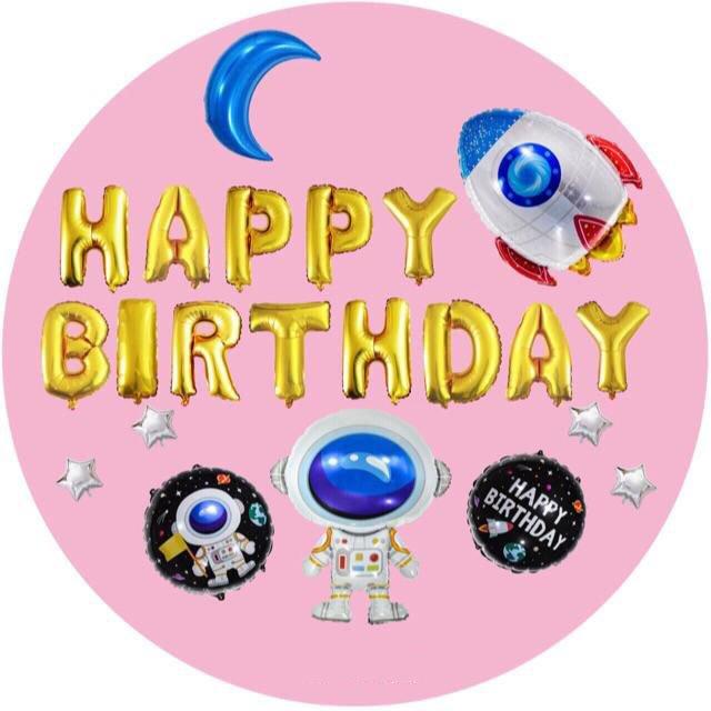 Set Bóng Trang Trí Sinh Nhật Happy Birthday Phi hành gia