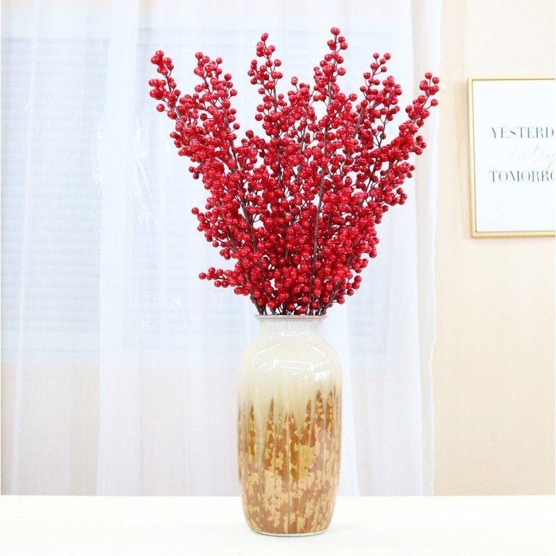 Cành đào đông đỏ không lá trang trí tết 70cm
