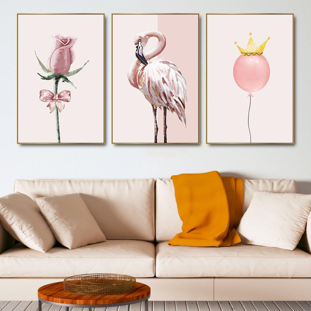 Tranh treo tường hồng hạc và hoa hồng