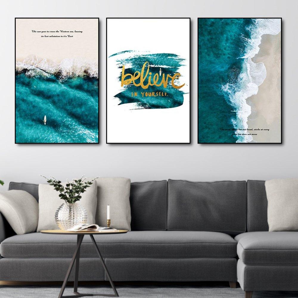 Tranh treo tường sóng biển believe in yoursefl