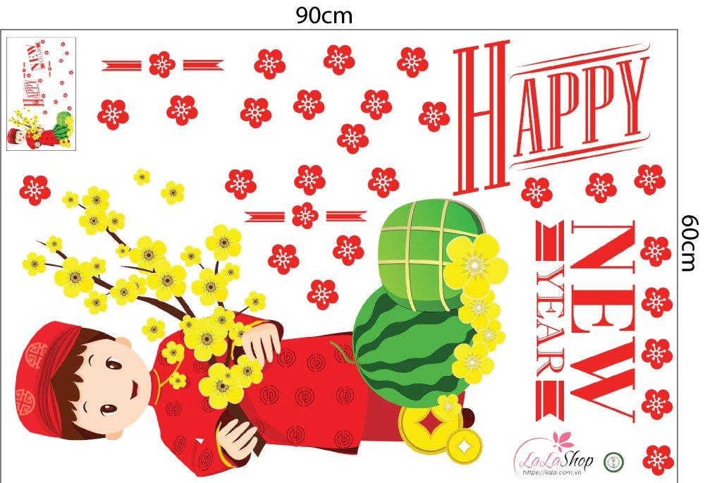 Combo decal bé chúc mừng năm mới và mâm ngũ quả (HN)
