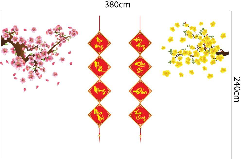 Combo decal mai vàng khoe sắc và đào hồng nở rộ trang trí tết (HN)