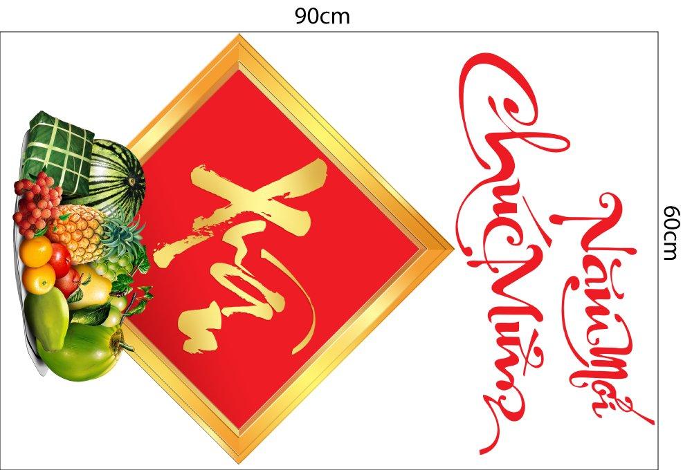 Combo decal trang trí tết Mai đào câu đối đỏ đón xuân (HN)