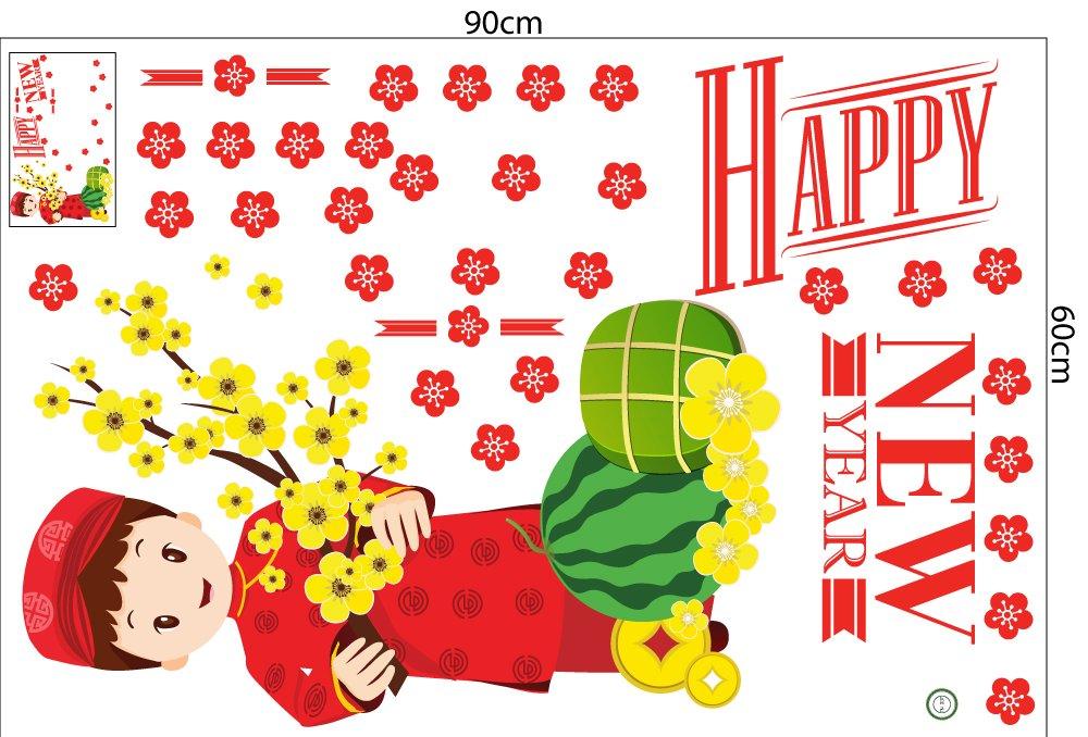 Combo decal trang trí tết mai đào khoe sắc xuân mẫu 04 (HN)